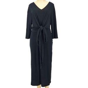 ZARA Basic Black Tie-Detail Maxi Dress